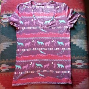 Tribal womens tshirt v neck